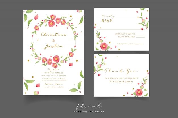 Свадебные приглашения с акварельными цветами камелии