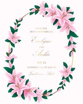 花結婚式招待状のテンプレートデザイン