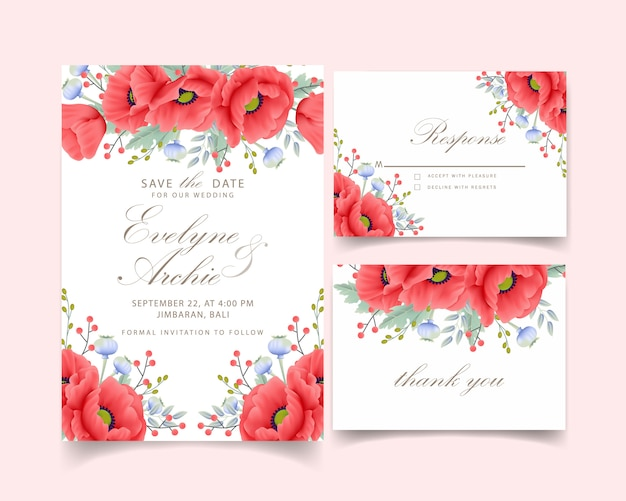 ケシの花の結婚式招待状