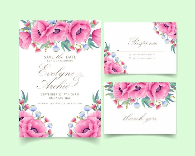 ケシの花とユーカリと花の結婚式招待状