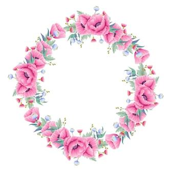 ケシの花とユーカリと花の背景の花輪
