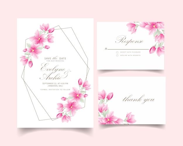 モクレンの花と花の結婚式の招待状