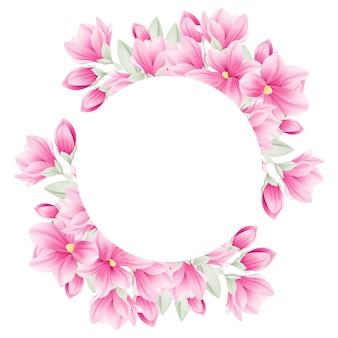 モクレンの花と花のフレームの背景