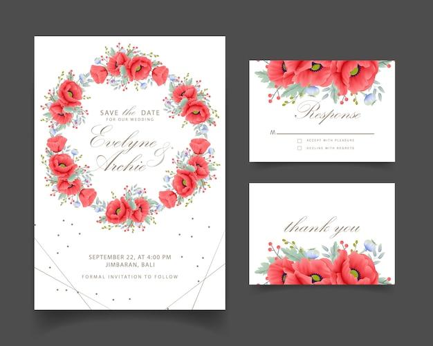ケシの花と花の結婚式の招待状