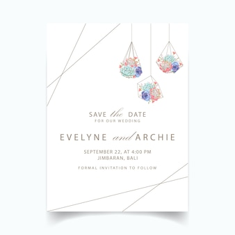 結婚式の招待状の多肉植物の幾何学的なテラリウム