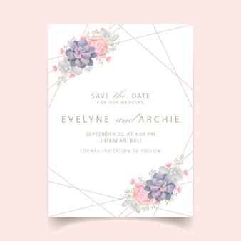 多肉植物と花の結婚式の招待状