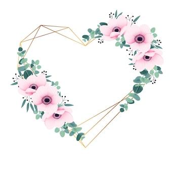 アネモネの花とユーカリの花のフレームの背景