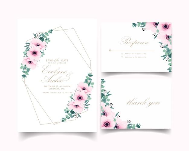 アネモネの花とユーカリの結婚式の招待状