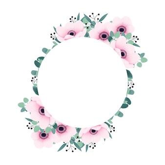 アネモネの花とユーカリのフレームの背景
