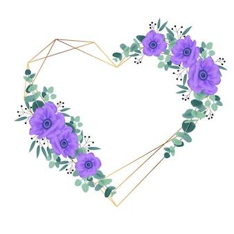 紫色のアネモネの花の花のフレームの背景デザイン。