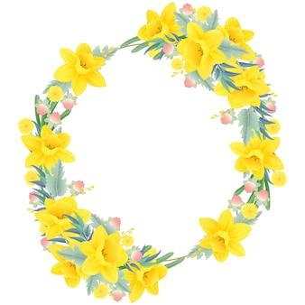 Цветочная рамка фон с нарциссами цветок