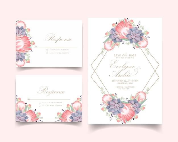 プロテア花と多肉植物の花の結婚式の招待状