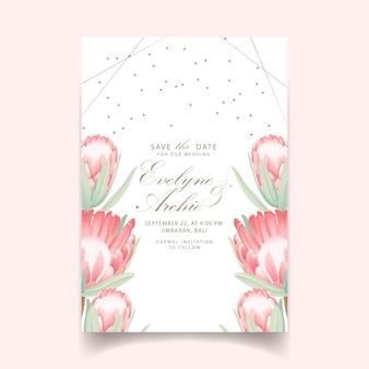 プロテア花と花の結婚式の招待状