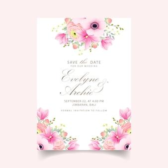 Приглашение на свадьбу лютик магнолия цветы анемона