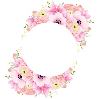 花のフレームラナンキュラスモクレンとアネモネの花