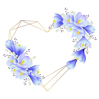 クロッカスの花と花のフレームの背景