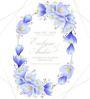 クロッカスの花と花の結婚式の招待状
