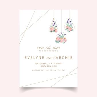 ラナンキュラスバラとラベンダーの花と花の結婚式招待状のテンプレートデザイン。
