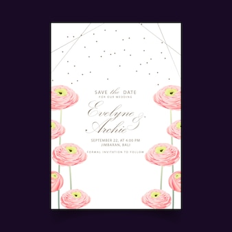 ラナンキュラスの花と花の結婚式の招待状
