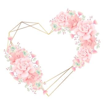 Люблю цветочный фон рамки с суккулентами