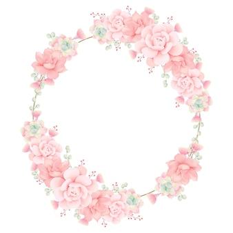 多肉植物と花のフレームの背景