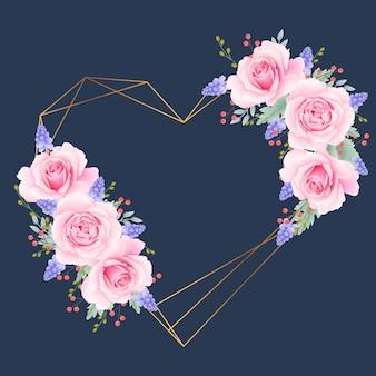ピンクのバラと花のフレームの背景が大好き
