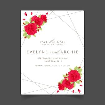 赤いバラと花の結婚式の招待状