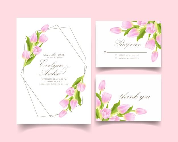 ピンクのチューリップの花と花の結婚式の招待状