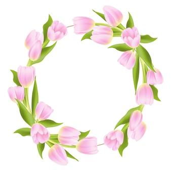 ピンクのチューリップと花のフレームの背景