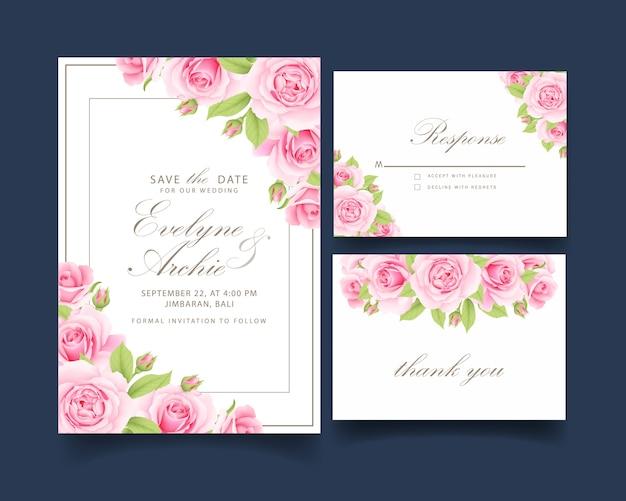 ピンクのバラと花の結婚式の招待状