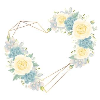 白いバラと多肉植物の愛の花のフレームの背景