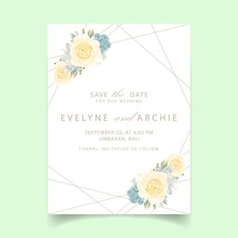 白いバラと多肉植物の花の結婚式の招待状