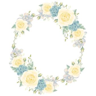 白いバラと多肉植物の花のフレームの背景