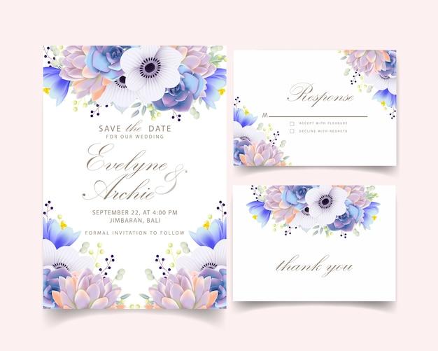 アネモネの花と多肉植物の花の結婚式の招待状