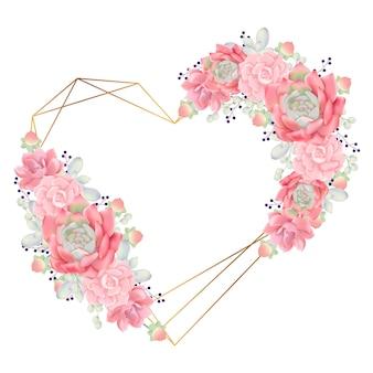 多肉植物と愛の花のフレームの背景