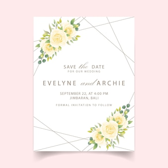 Свадебное приглашение с белой розой