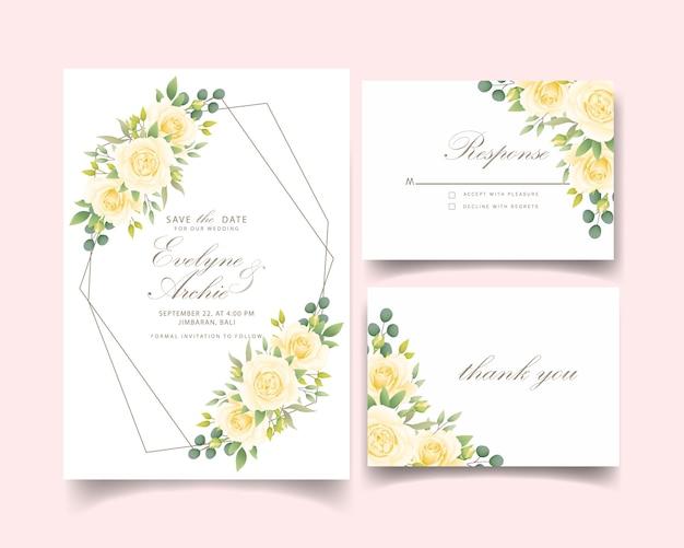 ホワイトローズと花の結婚式の招待状