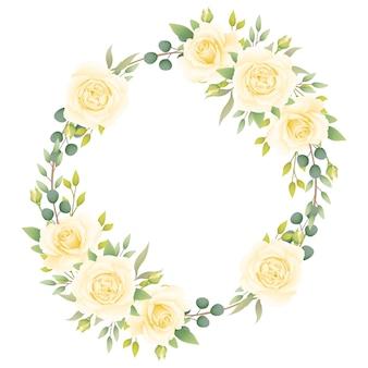 白いバラの花のフレームの背景