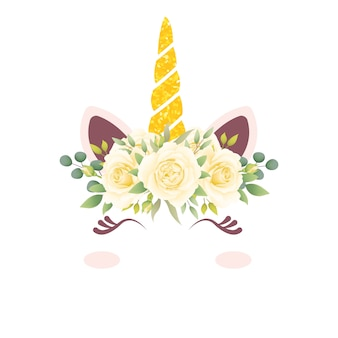 かわいい花のユニコーン