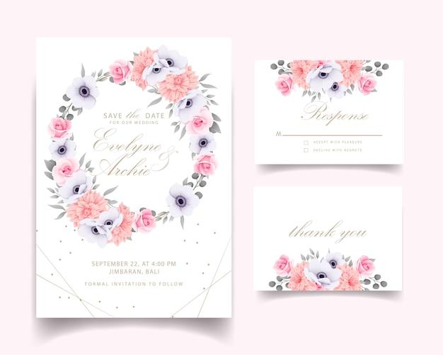 バラの結婚式の招待状