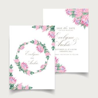 花結婚式招待状のテンプレート