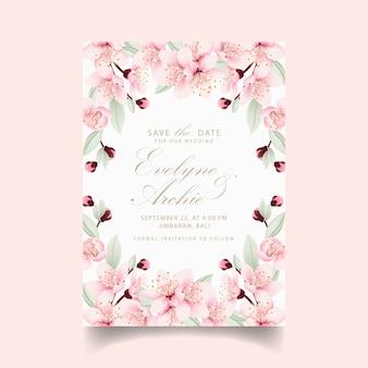 Цветочное свадебное приглашение с цветами вишни