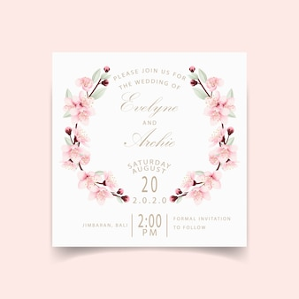 桜の花の結婚式の招待状