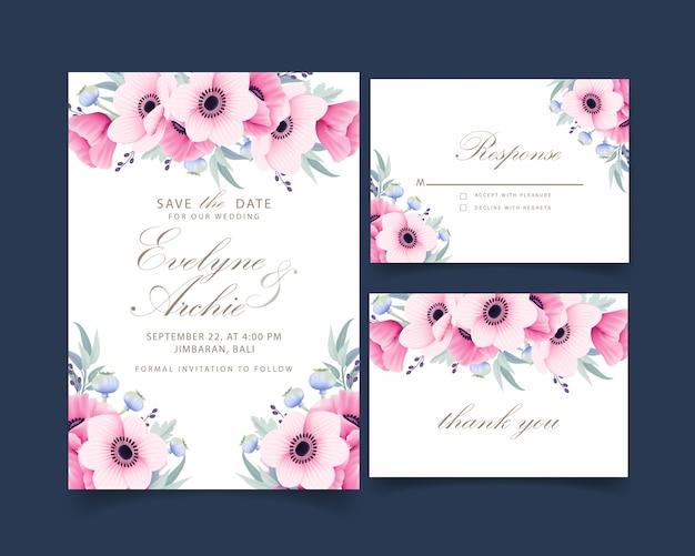 アネモネとケシの花と花の結婚式の招待状
