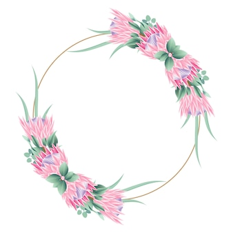 プロテア花の花のフレームの背景テンプレートデザイン。
