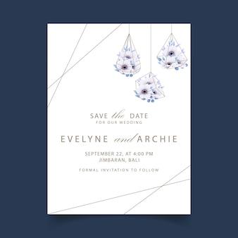 アネモネの花と花の結婚式の招待状