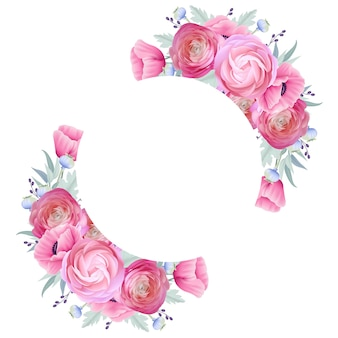花のラナンキュラスとケシの花のフレームの背景