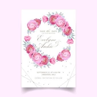 花のラナンキュラスとケシの花の結婚式の招待状