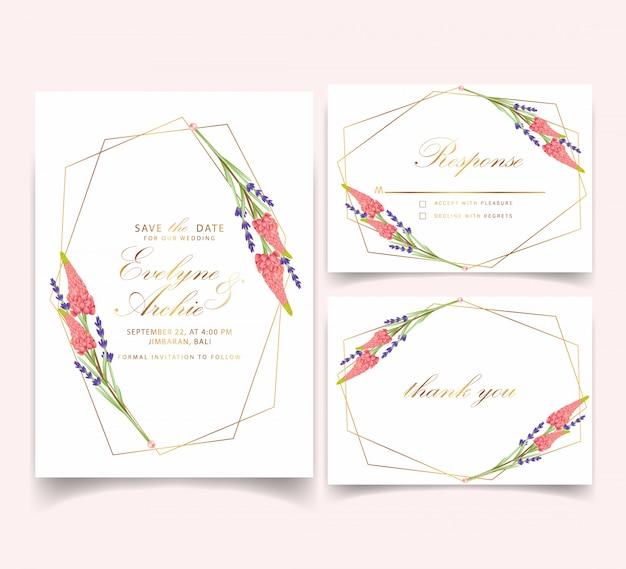 ルパンとラベンダーの花の花嫁の結婚式招待状