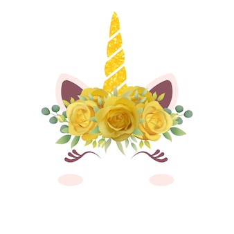 Милый цветочный единорог